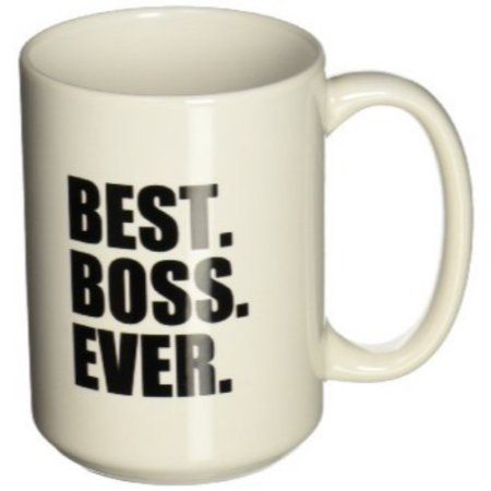 3dRose Best Boss Ever - fun funny humorous gifts for the boss - work office humor - black text, Ceramic Mug, 15-ounce, White