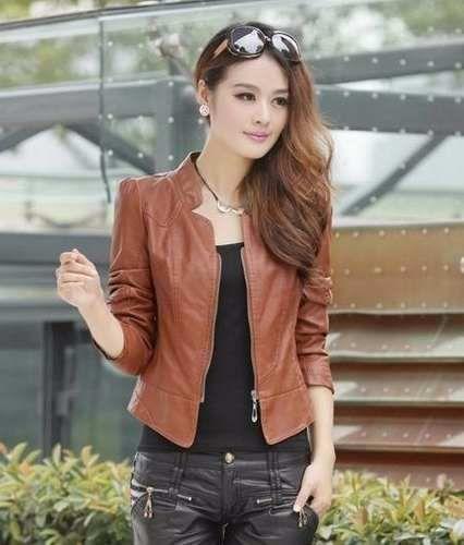 jaqueta feminina couro sintético importada outono/inverno