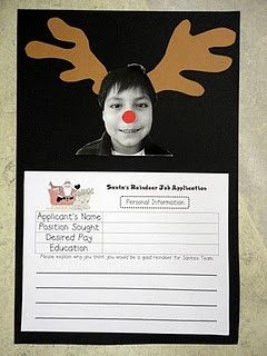 Application to become one of Santa's reindeer. Cute idea. Could make the application more detailed as desired for upper elementary grades.