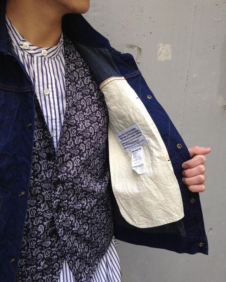 """「NEPENTHES」SPECIAL """"STYLING"""" BANDED COLLAR LONG SHIRT-Wide St.Broadcloth / Navy / ¥29,000+Tax TYPE 111 JEAN JACKET-11oz Cone Denim / Indigo / ¥41,000+Tax REVERSIBLE VEST-Polka Dot / Dk. Navy / ¥25,000+Tax #nepenthes #needles #engineeredgarments #fwkbyengineeredgarments #bandedcollarlongshirt #type111jeanjacket"""