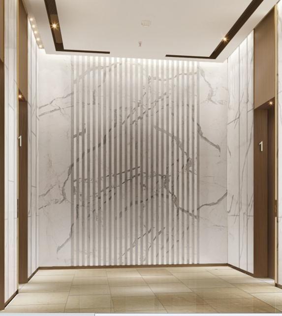 Elegant Textured Marble Wall At Lift Lobby