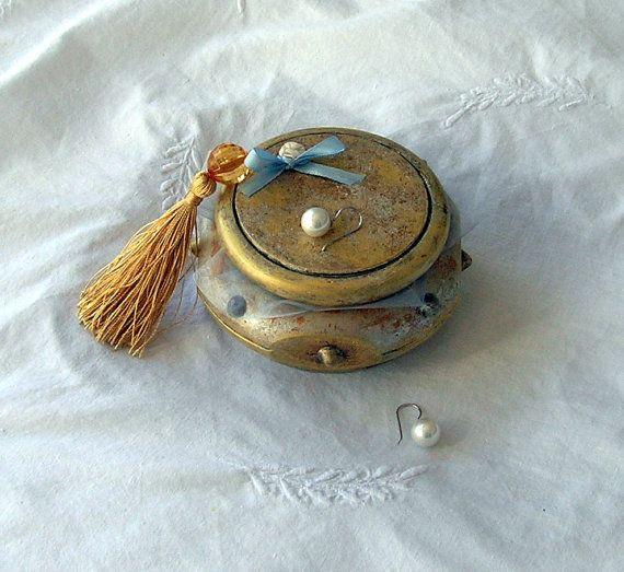 Boîte à bijoux or peinte à la main boîte à bagues boîte à par Syell