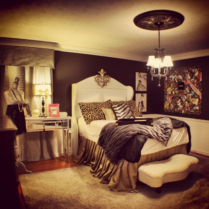 Ireland's Chanel themed bedroom with houndstooth curtains and wingback headboard-black and white-cheetah bulletin board and black walls