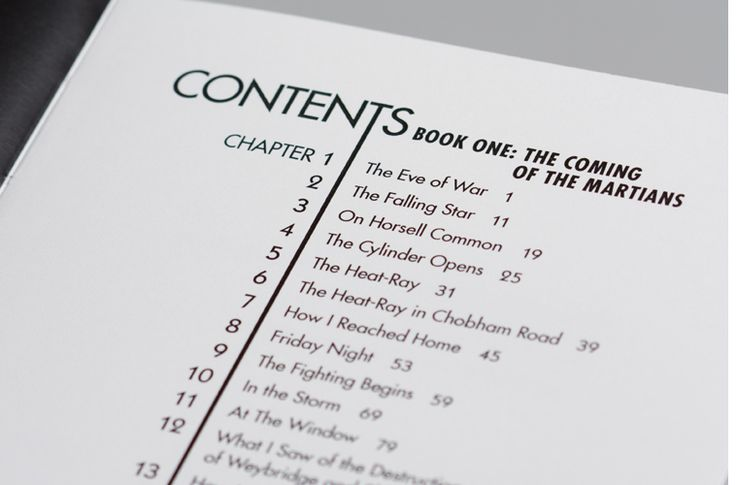 war of the worlds book design table contents courtney comfort