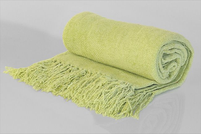 Chenille Throw with frill light green