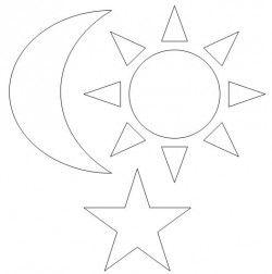 molde estrela sol e lua