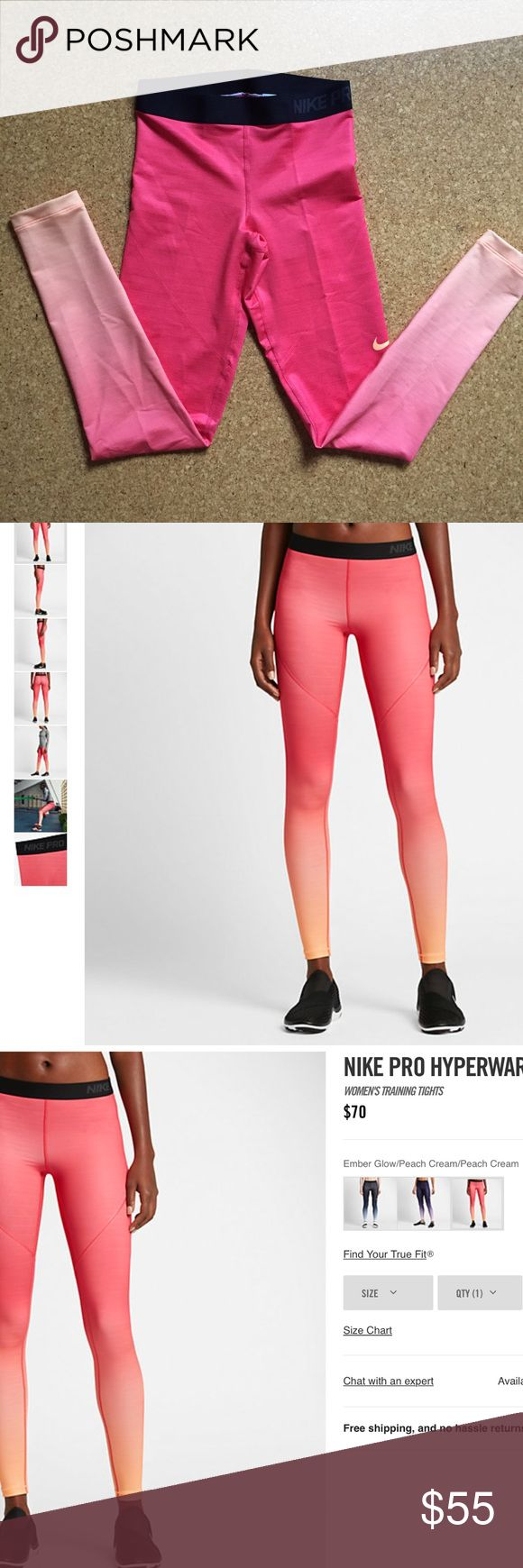 Nike Running Pants Nike pro brand new women's training tights. Ombré orangey coral color. Size S Nike Pants Leggings