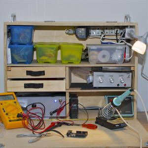 A mobile workbench for working on electronics.