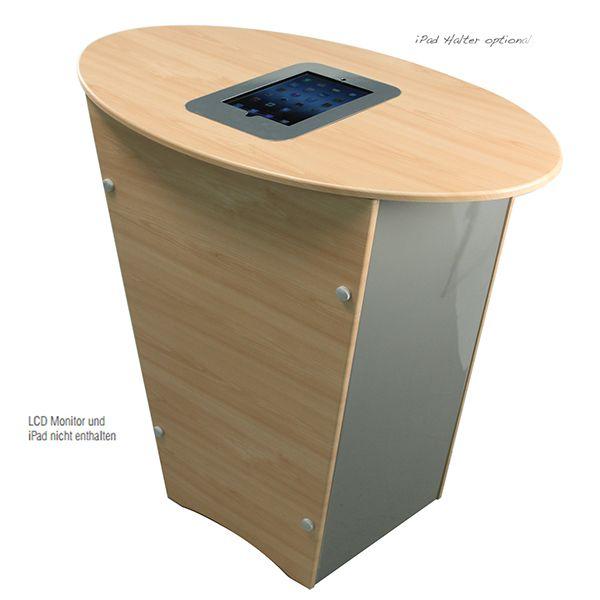 """Messetheke """"V"""" Deluxe mit interner Ablage und abschließbarer Tür. iPad-Halterung in der Tischplatte ist optional."""