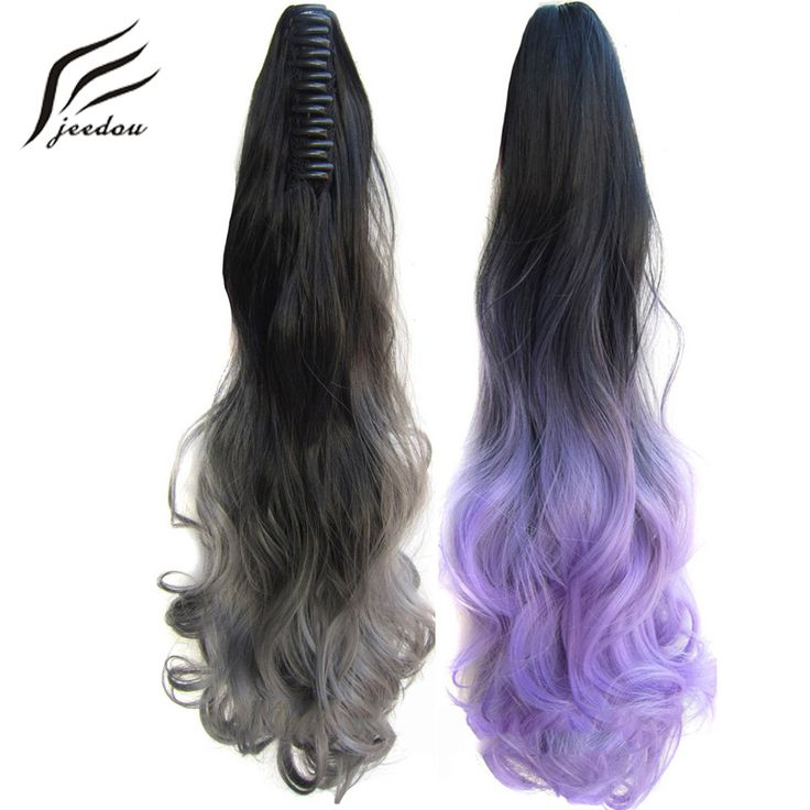 """jeedou Wavy Synthetic High Temperature Ponytails 22"""" 55cm 170g GreenPink Gray Omber Color Claw Ponytail Hair Extensions #Affiliate"""