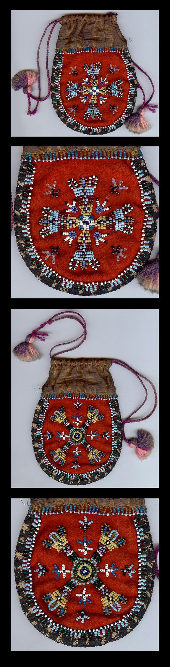 Antique ATHABASCAN Indian Beaded Drawstring Pouch
