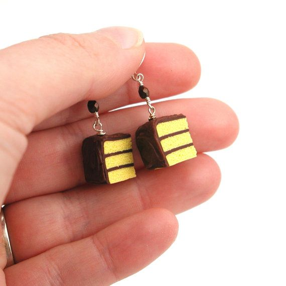 Cake earrings : yellow cake with chocolate frosting | Yellow Cakes ...