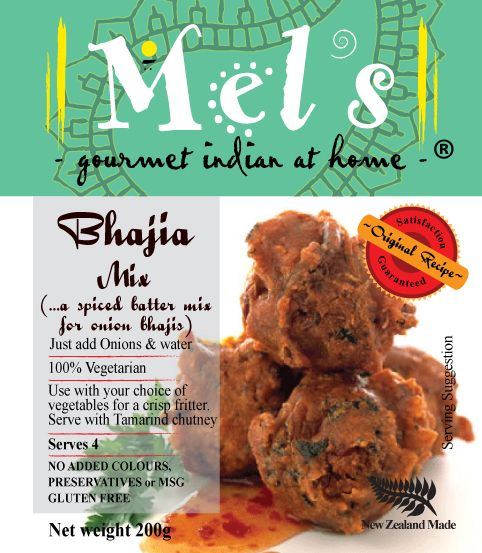 Mels Bhajia Mix - a delicious batter mix for crispy Onion Bhajis..  Fry and serve hot to dunk in Mels Tangy Tamarind Chutney...ummmm  www.mels.co.nz