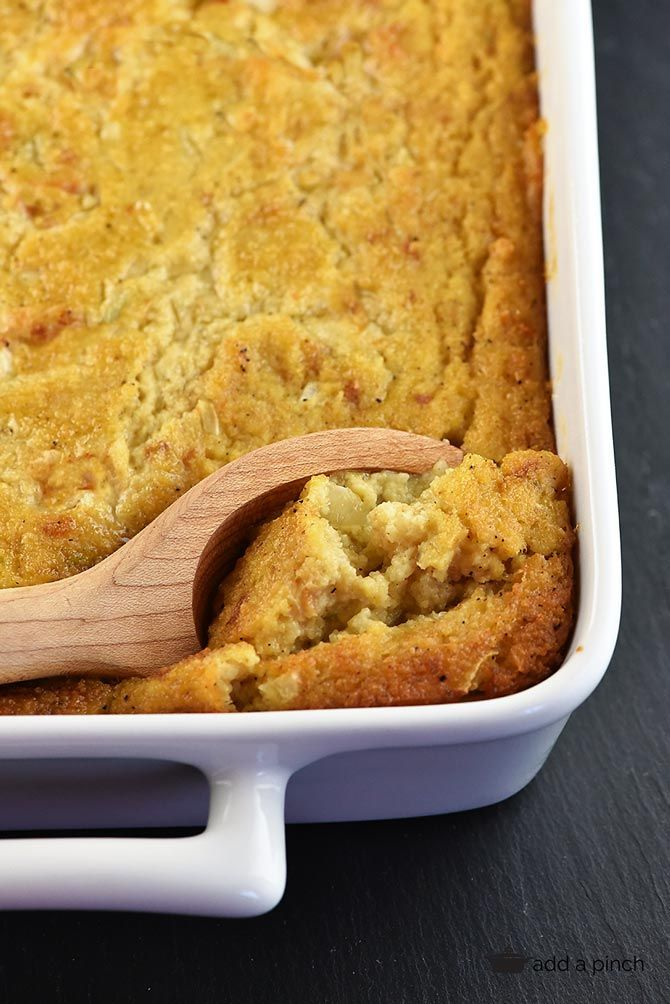 Southern Cornbread Dressing -Such a comforting, family recipe perfect for the holidays and special meals! Moist and delicious! A family favorite! // addapinch.com