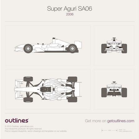Super Aguri F1 SA06 vector PDF templates