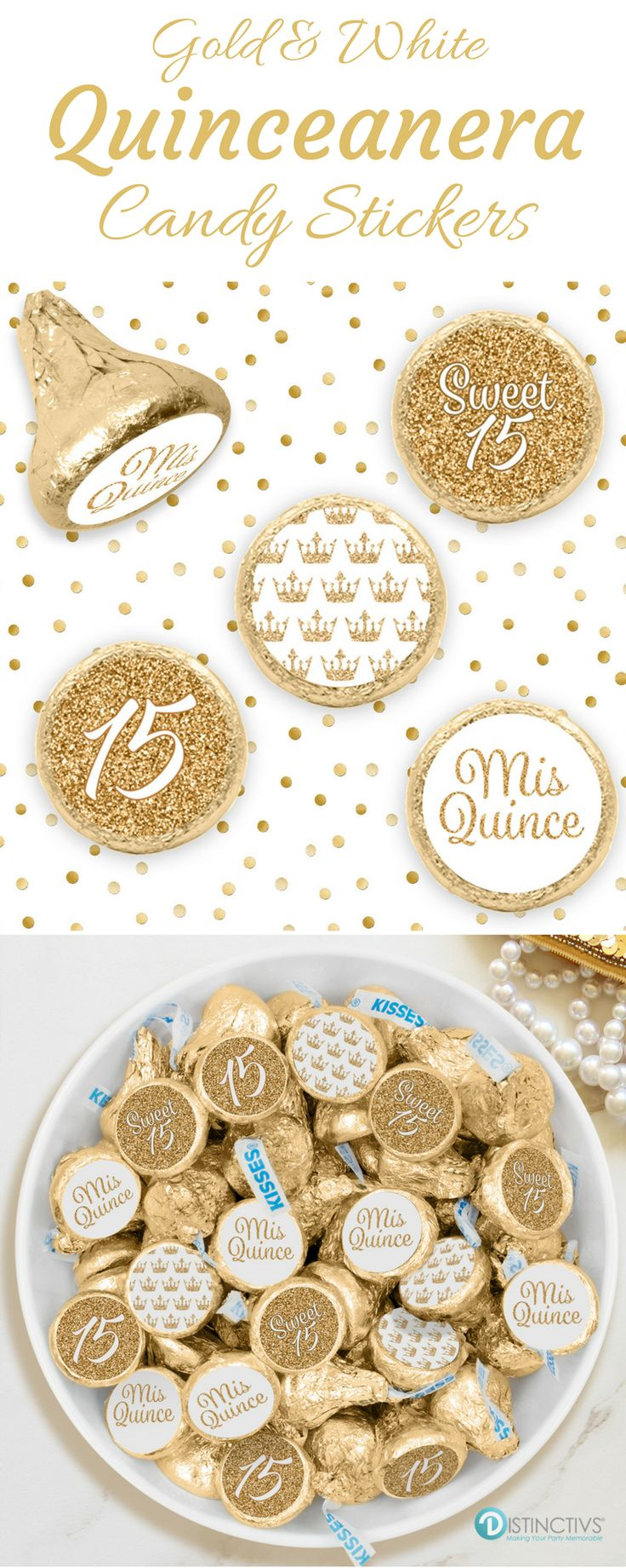 White and GoldQuinceaneraparty favor stickersare the perfect final detail to add to your upcoming girl's Princess Quincecelebration. #whitequince