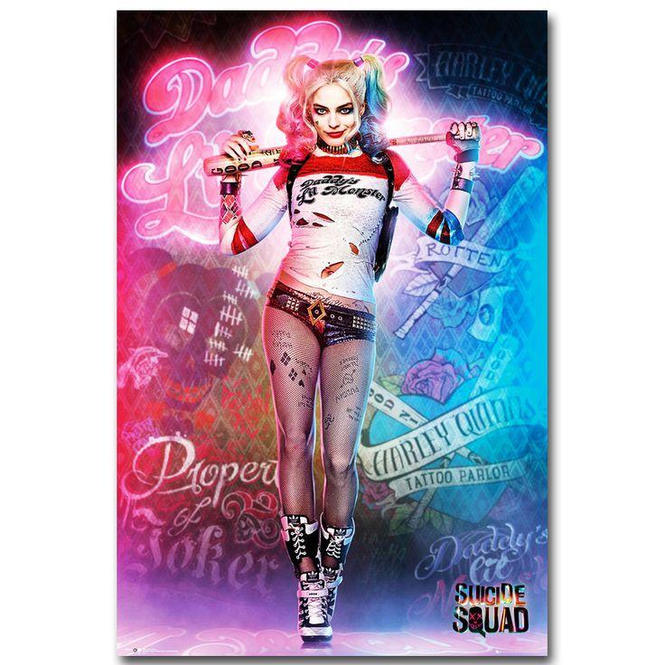 Harley Quinn - Suicide Squad Superhero Art Silk Poster Print 13x20 20x30 inch Movie Sexy Picture for Living Room Wall Decor 024 //Price: $14.37 & FREE Shipping //     #jaredletojoker #jarley #jokerandharley #dccomics #madlove #thecrazyones #suicidesquad2016