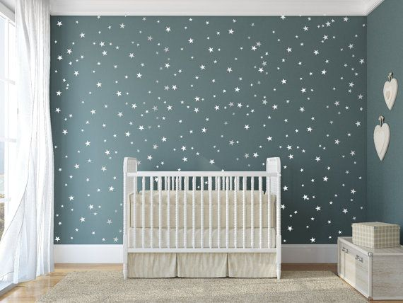 star vinyl wall decal - 148 silver stars - star wall decal art sticker for baby room nursery - silver vinyl star wall decals