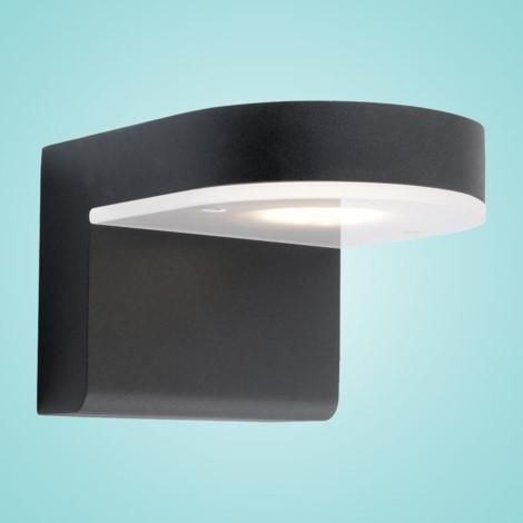 """LED Outdoor Wall Light w/ Black Finish & White Glass 1 x 10W Dimensions: L:5.12""""; H:4.33""""; D:6.50"""" Type of bulb:LED - Included Kelvin:3000K - Warm White"""