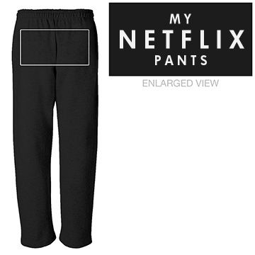 Weekend Netflix Pants Unisex Canvas Fleece Open Bottom Pocketed Sweatpants