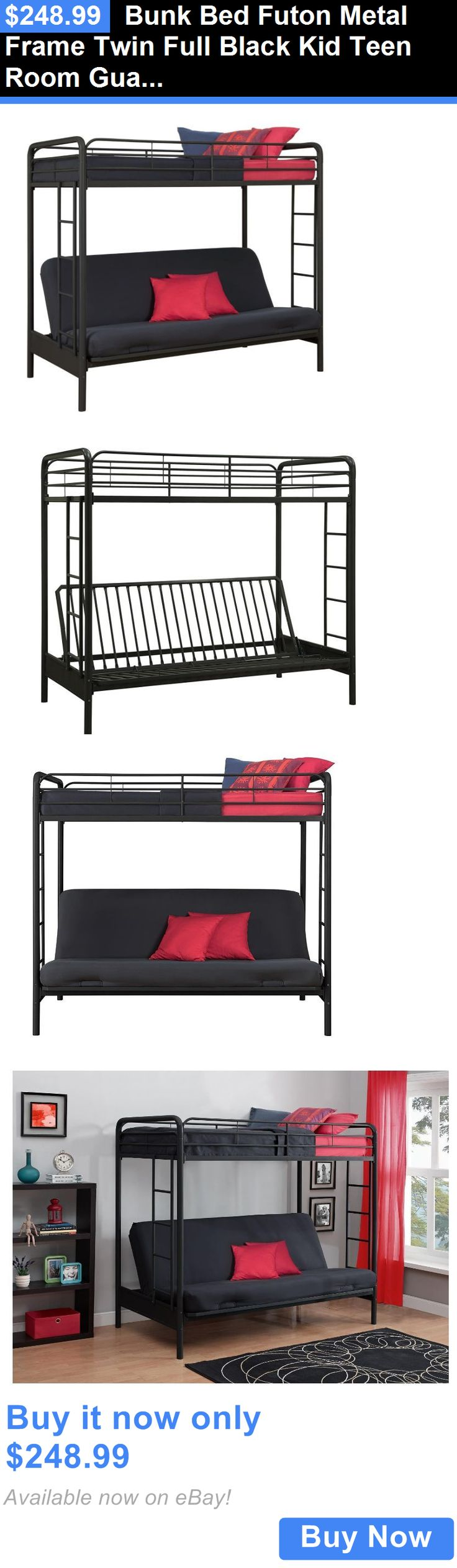 Kids Furniture: Bunk Bed Futon Metal Frame Twin Full Black Kid Teen Room Guardrail Ladder New BUY IT NOW ONLY: $248.99