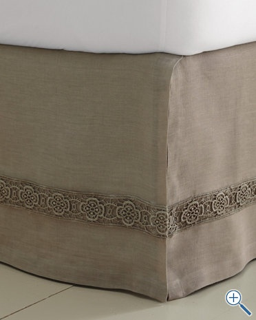 embellished linen bedskirt I could add this to a plain bedskirt (link doesn't go to original)