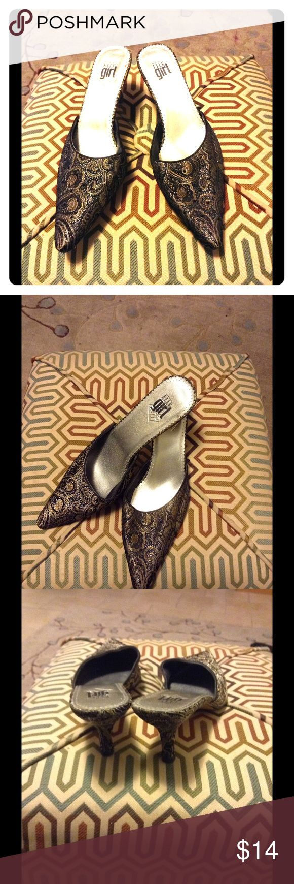 Beautiful Evening Shoe Look large shoe-size girlies! Beautiful black satin fabric with metallic gold and multi threads. Newly re-heels heeled. In very good condition! Elle Shoes Mules & Clogs