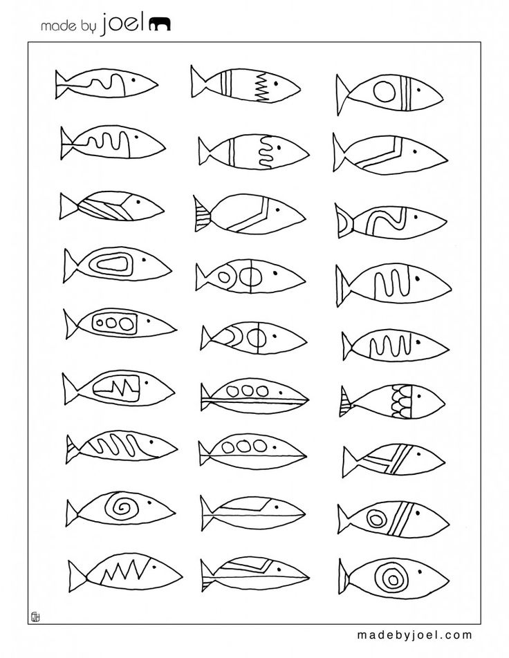 Made By Joel Modern Fish Designs Coloring Sheet Free Printable Template