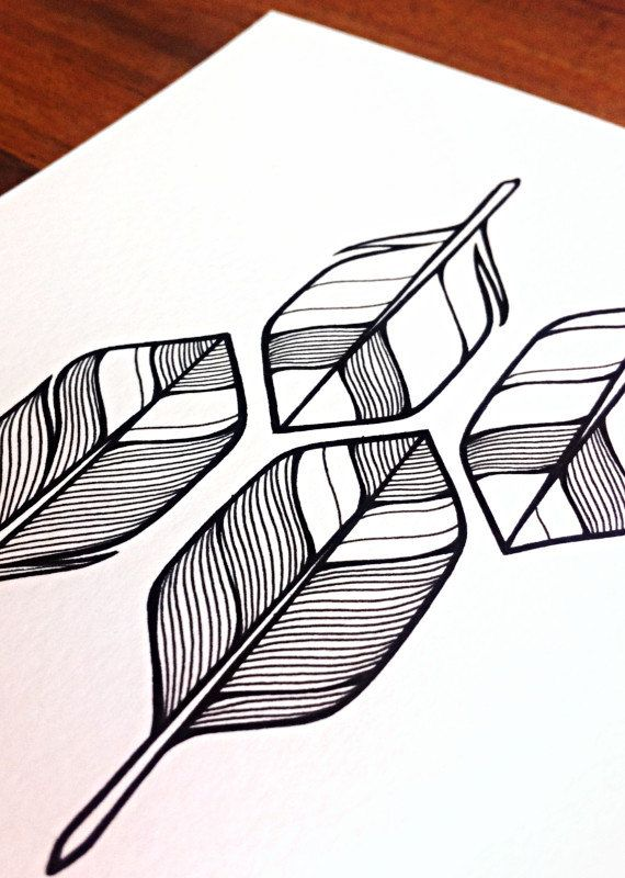 arrows illustration - 'four' - hand drawn feathers or arrow flights - black and white feathers art.
