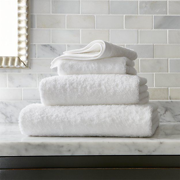 Egyptian Cotton White Bath Towels | Crate and Barrel
