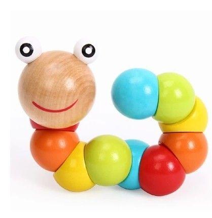 Kleurrijke creatieve educatief diy baby kids twist rupsen houten speelgoed infant developmental poppen geschenken 7 duim 17.5 cm van new