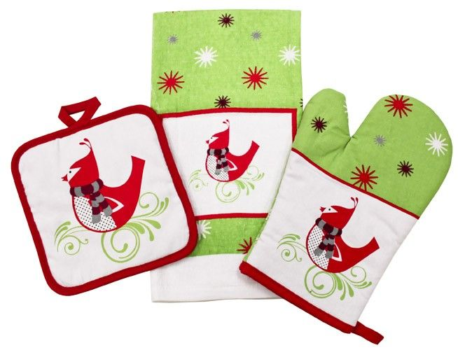 A perfect Christmas gift- Printed three piece kitchen accessories set. Set features, velour tea towel, pot holder an oven glove. http://wamhomedecor.com.au/index.php/3-piece-kitchen-accessories-set-christmas-bird.html