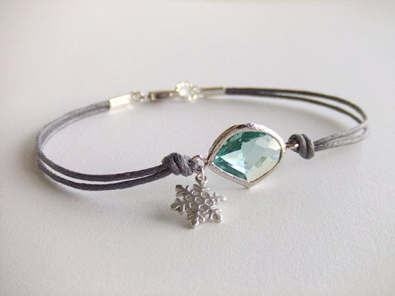 Winter Mint Snowflake Jewelry Bracelet, Silver Snowflake Charm, Frost Ice, Dainty Jewelry, Holiday Gift, Christmas Jewelry, Gift for Her