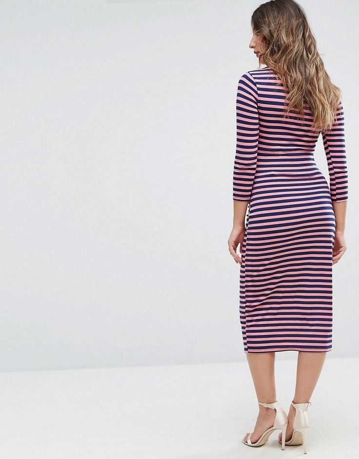Bluebelle Maternity Bodycon Dress with 3/4 Sleeve In Stripe - Multi