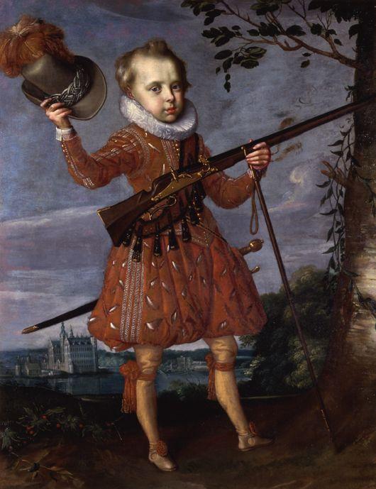 Frederik 3. som barn. På portrættet er han kun ca. 6 år gammel, men er alligevel malet med en musketer i hånden. Militære færdigheder var en stor del af opdragelsen af Christian 4.s sønner. Uddannelse var vigtigt for de rigeste i Danmark, og indholdet af undervisningen var meget anderledes end i dag. Læs mere om skolens rolle i 1600-tallet her: http://videnskab.dk/kultur-samfund/danske-skoler-blev-sparket-i-gang-af-folket-ikke-staten