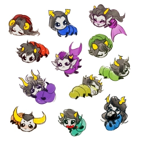 Beta grubs ~ and may I say the cutest grubs efur!!! 3:D (Look at how Eridan and Feferi are like little mermaids!!! That's the best!!!)