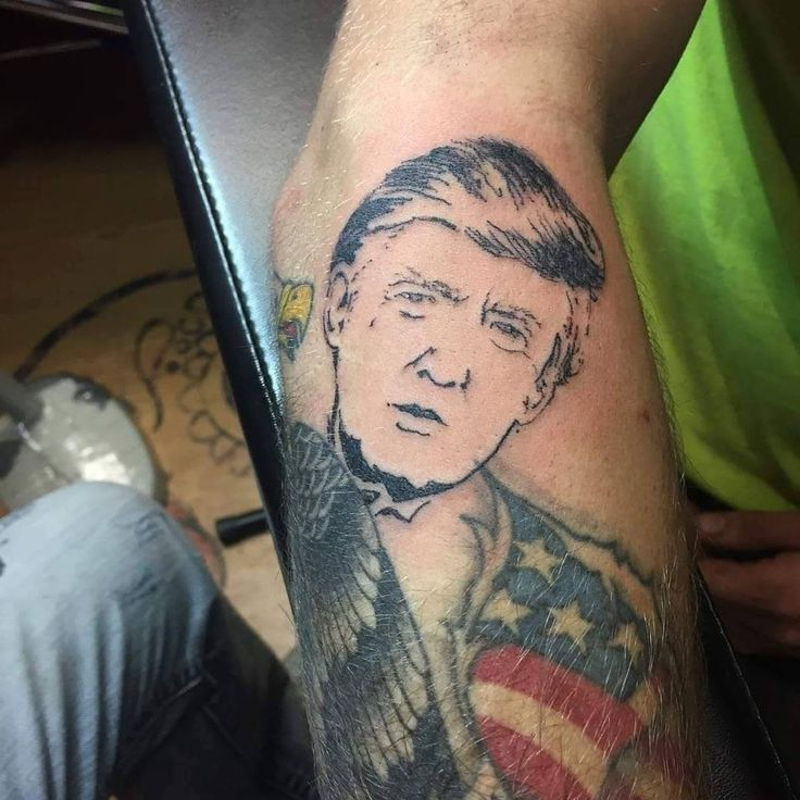 Donald Trump portrait tattoo via The Clay Dragon Tattoo Studio in New ...