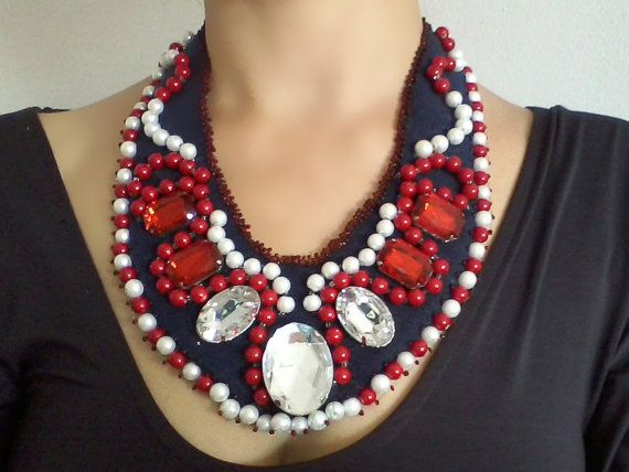 Women necklace Red blue necklace #Bib #necklace Big Necklace