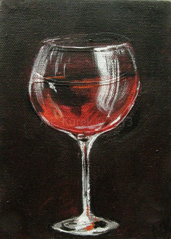Red wine glass original 5 x 7 acrylic painting on canvas for Type of paint to use on wine glasses