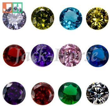 Di alta qualità cz charms birthstone, fascino medaglione, medaglione rotondo galleggiante birthstone
