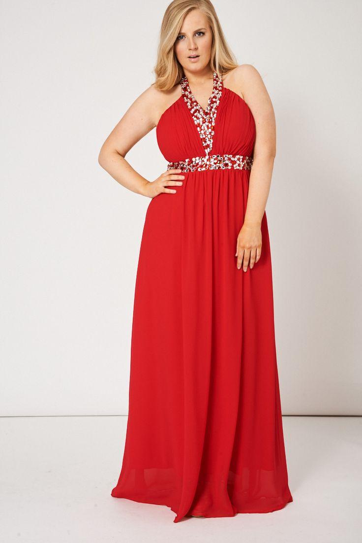 Vestido Largo Red Halter #moda #tallas #grandes