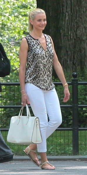 Cameron Diaz wearing TAG Heuer Lady Link Diamond Dial Roman Numeral 29 MM Timepiece in Rose Gold L'AGENCE Sleeveless Leopard Print Blouse