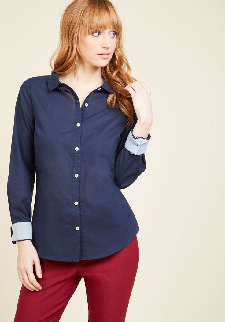 Off to a Good Start-up Button-Up Top in Dark Wash. Innovation is your area of expertise, which is evident by the eye-catching updates to this classic navy button up. #blue #modcloth