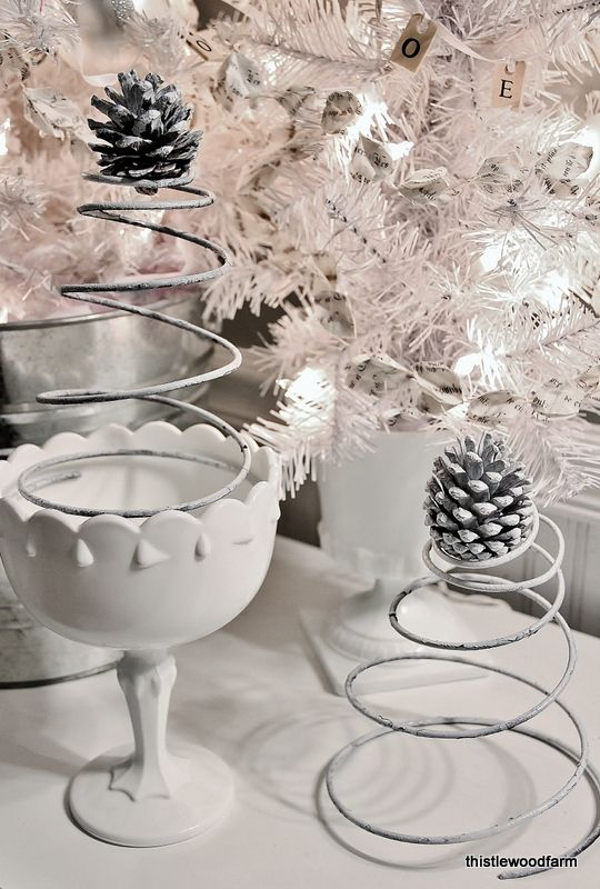 Make Christmas trees from springs. Easy simple idea to decorate with vintage flair. thisltewoodfarms.com