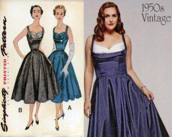 1950s Full Skirt Dress Pattern Simplicity 1963 Bust 32 Womens