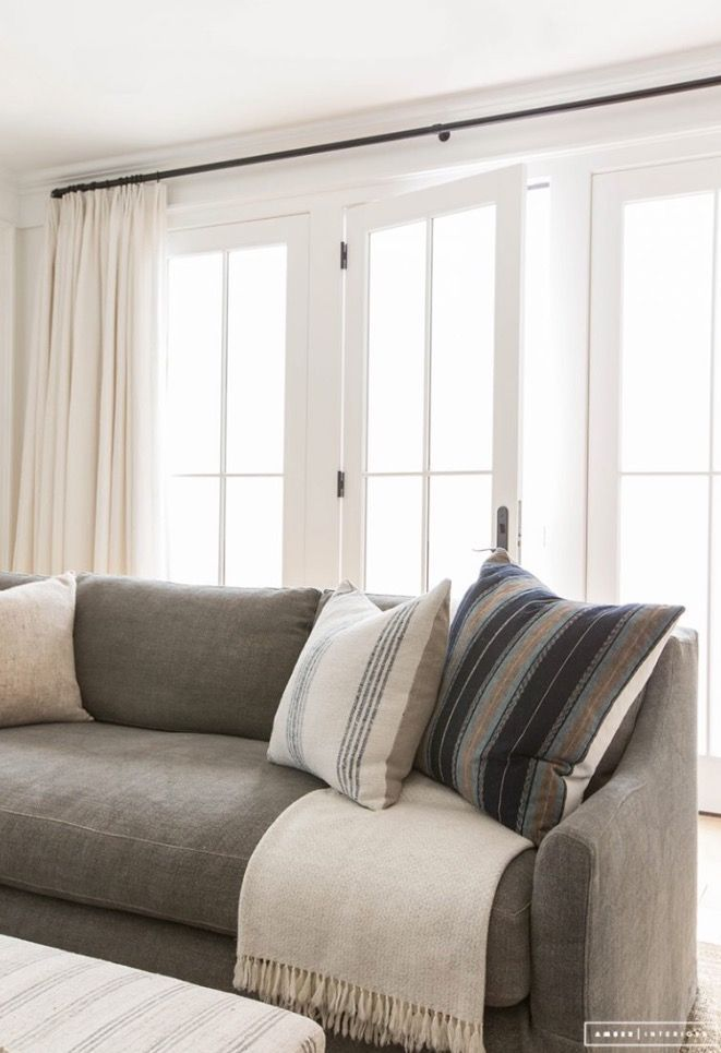 Gray Couch White Walls White Curtains And Large Windows Living Room Design Modern Home Living Room Farm House Living Room