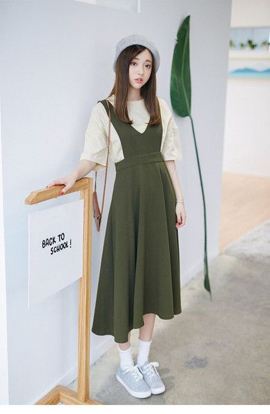 Korean Fashion - Single color dress - AddOneClothing - 3