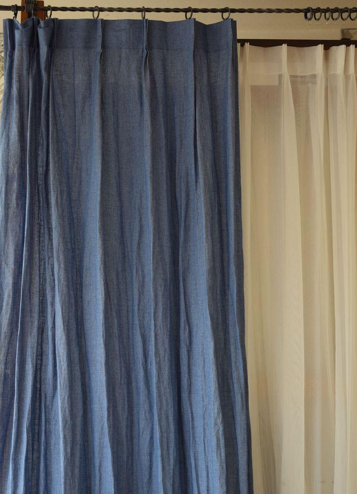 リトアニア産 ジル デニムブルー】 2つ山カーテン リネンカーテン 薄厚地 サイズW100cm×H150cm~ ¥10,480(税込) #リネンカーテン #カーテン #自然素材 #リネン #インディゴブルー #インテリア