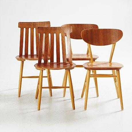 STOLAR, 2+2 st, bl.a. Jan Hallberg, Tallåsen AB, 1960-tal, formpressade sitsar samt ryggstöd i teak, underreden i björk, sitthöjd ca 43 cm. Inropade