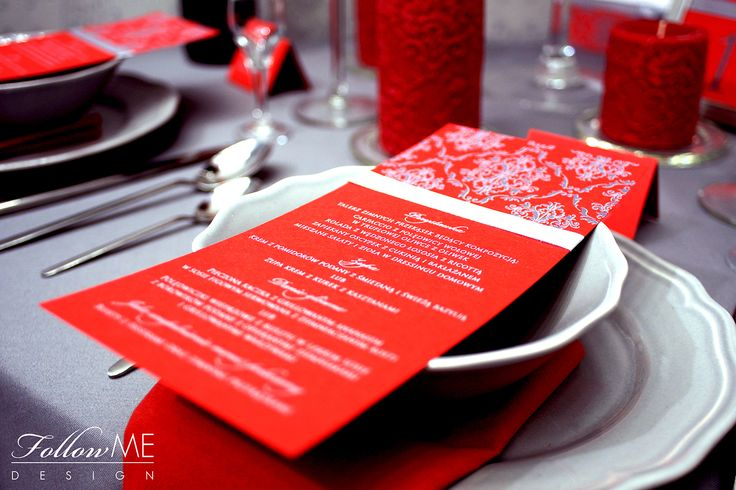 Dekoracje stołu / Karta menu / Winietki / Numery stołów / Eleganckie czerwone dekoracje ślubne od FollowMe DESIGN / Table Decorations / Menu Cards / Wedding Place Card / Table Number / Elegant Red & Grey Wedding Decorations & Details by FollowMe DESIGN